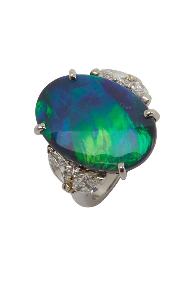 Platinum Black Opal & Diamond Ring