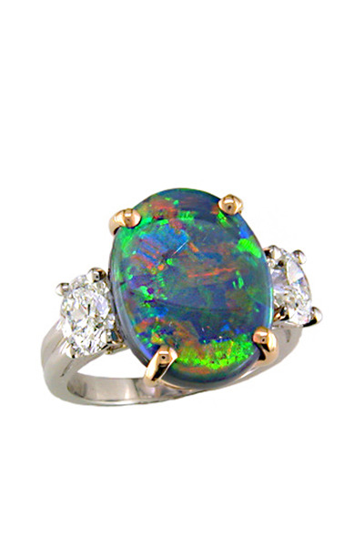 Oscar Heyman - Platinum Black Opal Diamond Ring