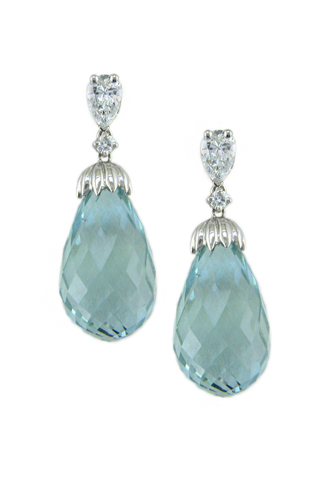 Platinum Diamond Aquamarine Earrings