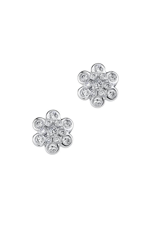 White Gold Domed Diamond Drop Earrings