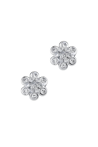 Aaron Henry - White Gold Domed Diamond Drop Earrings