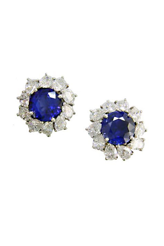 Blue Sapphire & Diamond Platinum Earrings