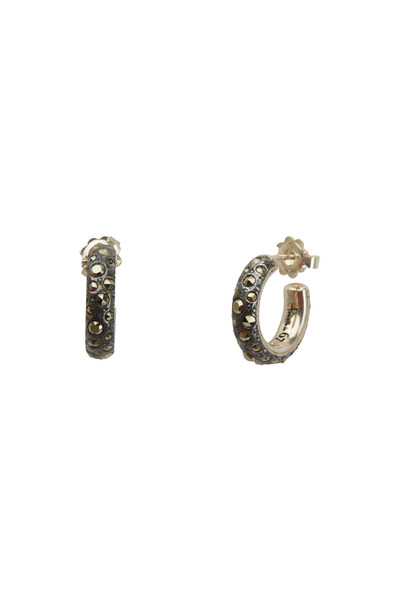 Pomellato - Sterling Silver Gray Marcasite Small Hoop Earrings