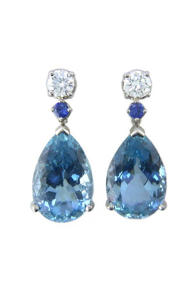Oscar Heyman - Platinum Diamond Aqua Sapphire Earrings