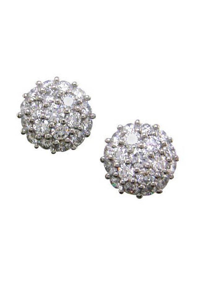 Platinum Diamond Button Earrings