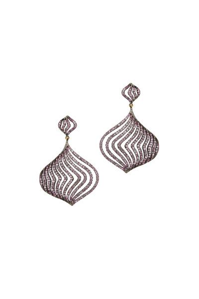 Loriann - Silver Sapphire & Diamond Dangle Lantern Earrings