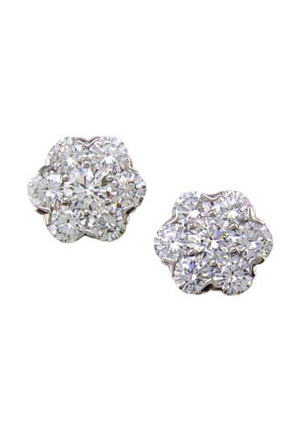 Oscar Heyman Platinum Diamond Cluster Stud Earrings