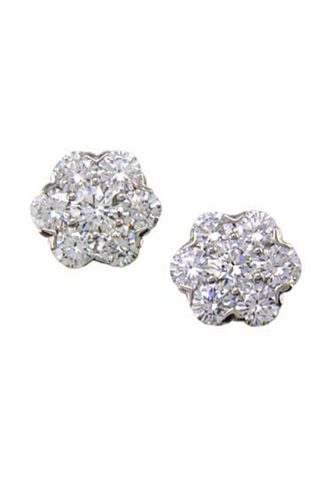 Platinum Diamond Cluster Stud Earrings
