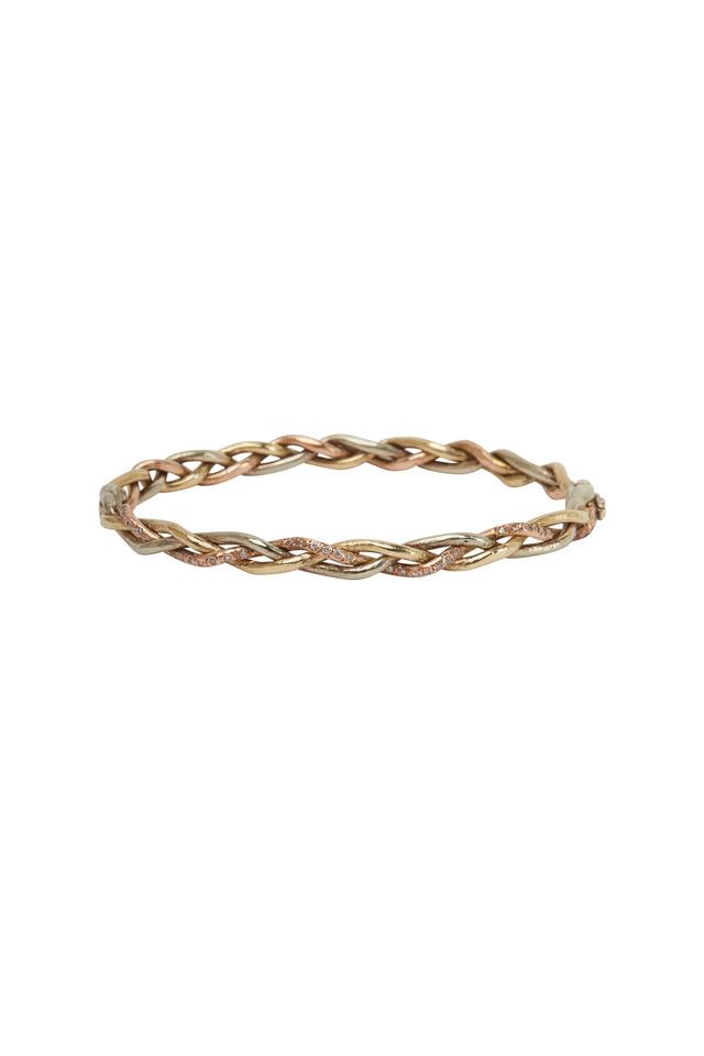 Yellow, Pink & White Gold Woven Bracelet