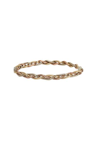 James Banks - Yellow, Pink & White Gold Woven Bracelet