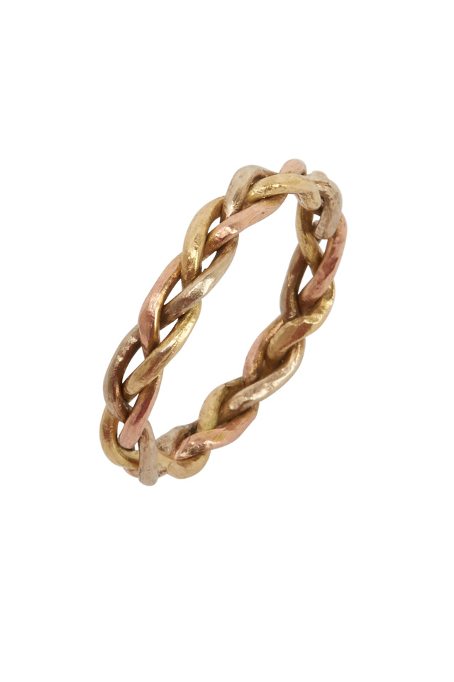 Gold Wide Woven Ring
