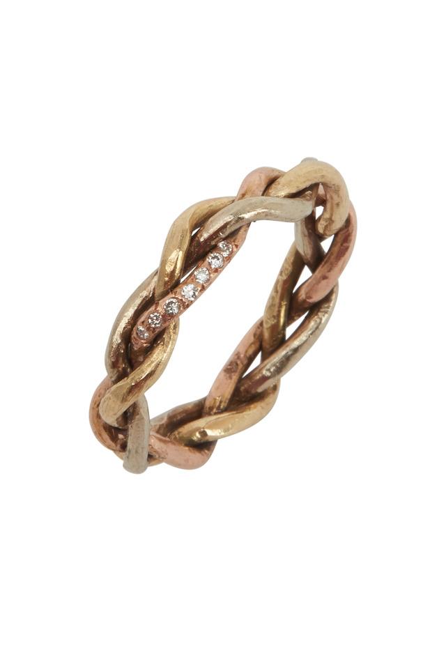 18K Yellow, White & Pink Gold Diamond Woven Ring