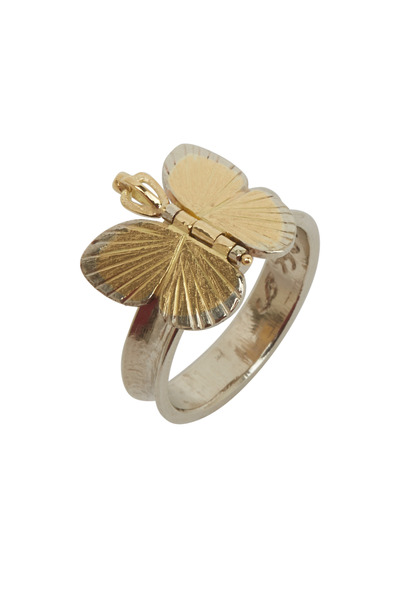 James Banks - Butterfly Gold & Silver Diamond Baby Ring