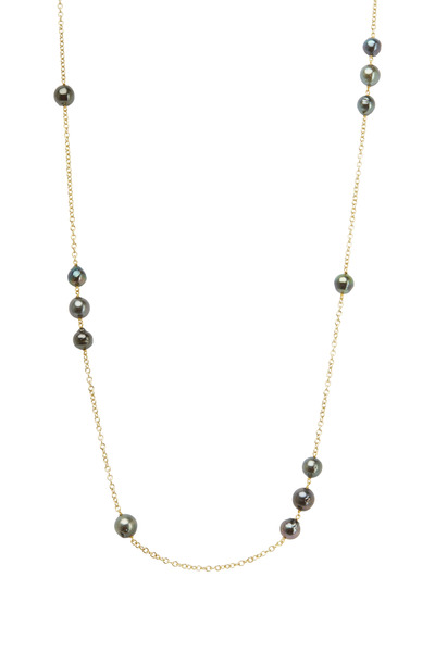 Caroline Ellen - Yellow Gold Black Tahtian Pearl Necklace