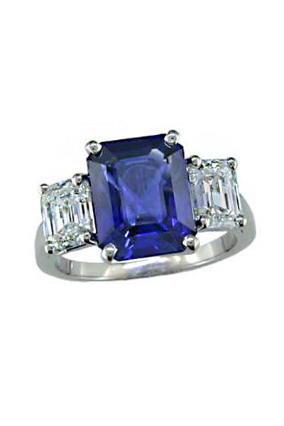Oscar Heyman - Platinum Diamond Sapphire Ring