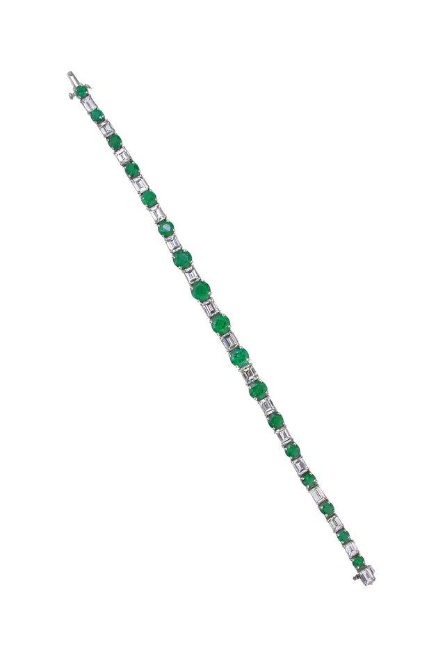 Platinum Emerald & Diamond Bracelet
