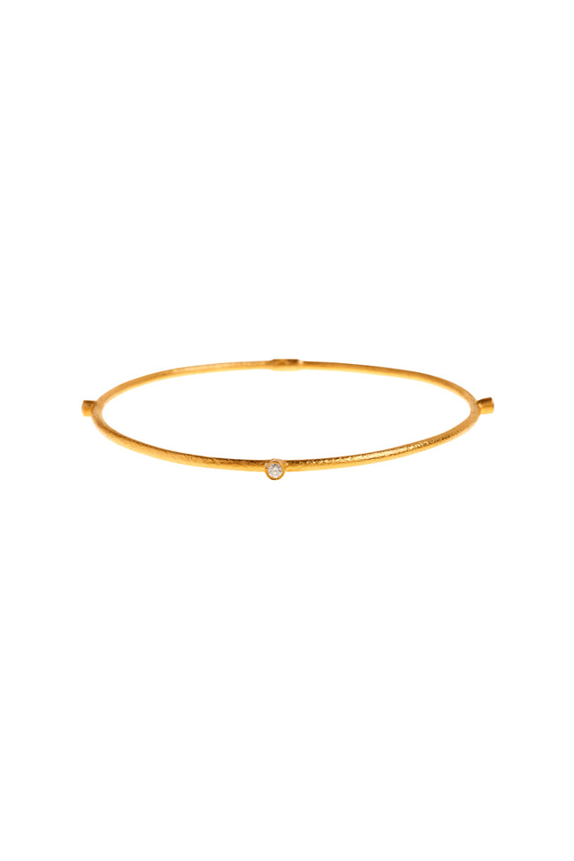 24K Yellow Gold Diamond Jane Bangle
