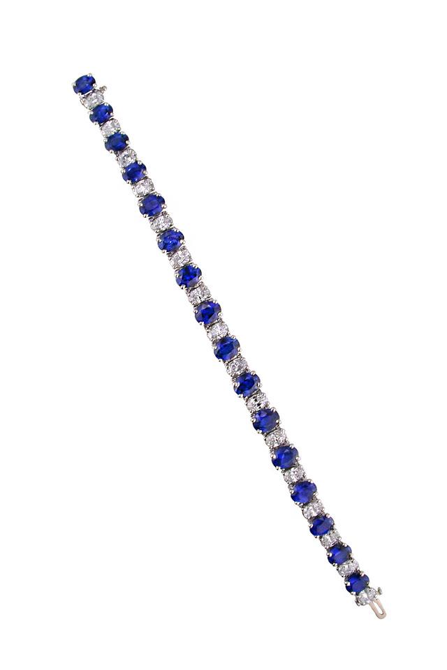 Platinum Oval Sapphire Diamond Line Bracelet
