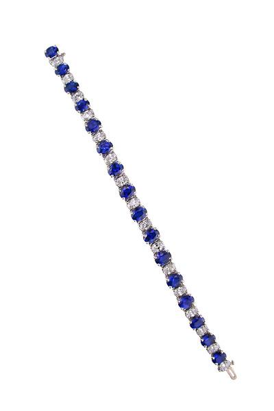 Oscar Heyman - Platinum Oval Sapphire Diamond Line Bracelet