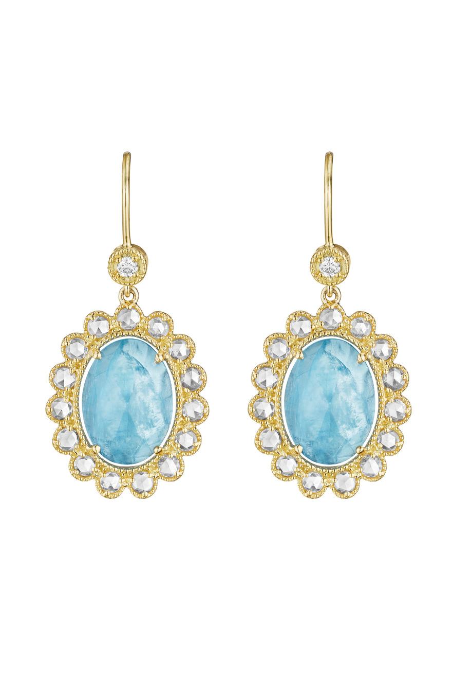Gold Aquamarine Dangle Earrings