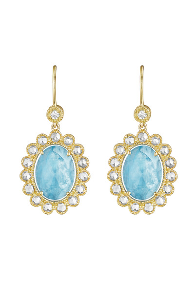 Penny Preville - Gold Aquamarine Dangle Earrings