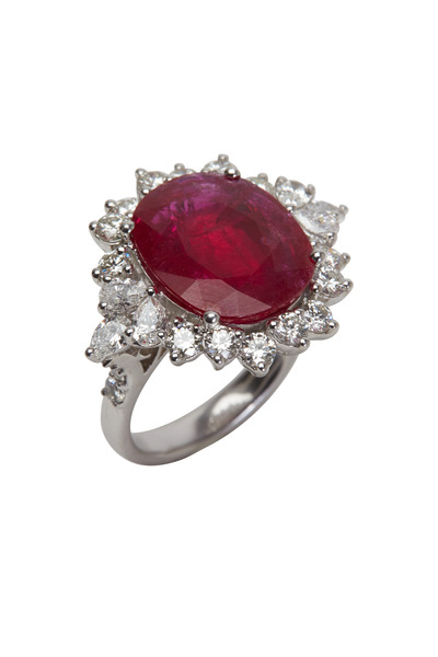 Frank Ancona - White Gold Oval Ruby & Diamond Cocktail Ring