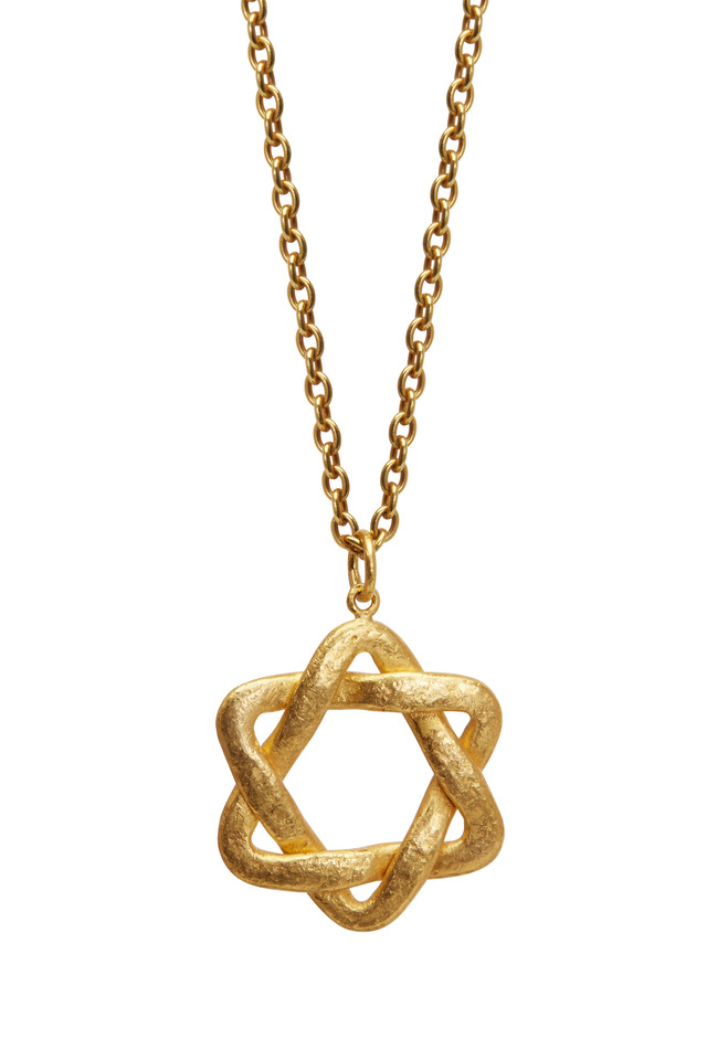 24K Yellow Gold Star Of David Pendant Necklace