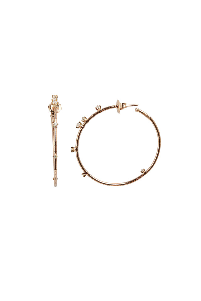 18K Rose Gold Diamond Rugiada Hoops