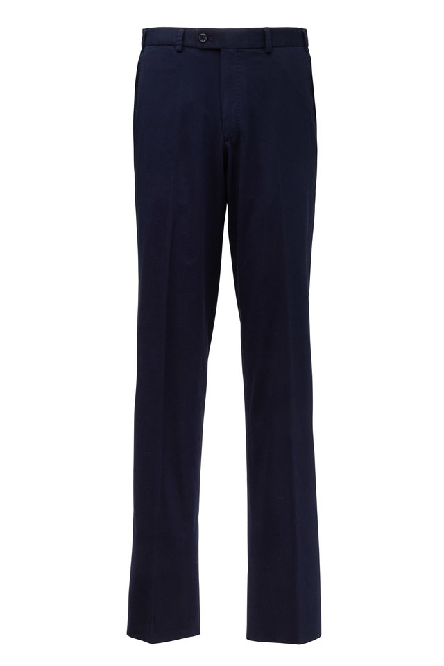 Dayne Navy Blue Stretch Cotton Pants