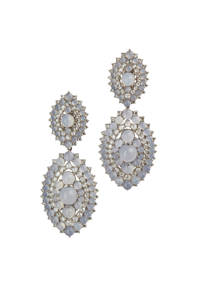 White Gold Chalcedony Diamond Riviera Earrings