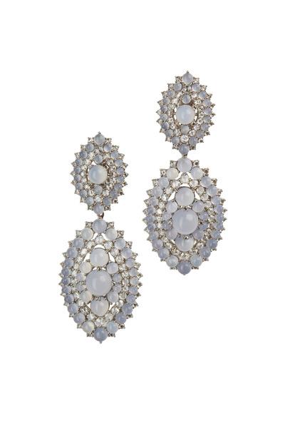 Nam Cho - White Gold Chalcedony Diamond Riviera Earrings