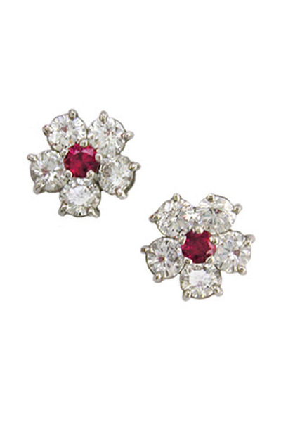 Oscar Heyman - Ruby Diamond Flower Earrings