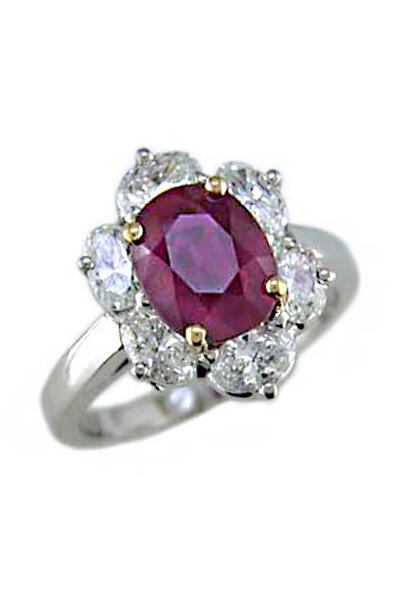 Oscar Heyman - Platinum Burma Ruby & Diamond Bridal Ring