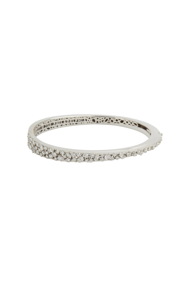 White Gold White Diamond Bangle Bracelet