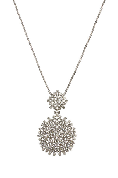 Paul Morelli - White Gold Round Mixed Diamond Cluster Pendant