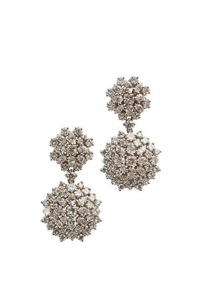 Paul Morelli - White Gold Diamond Cluster Double Drop Earrings