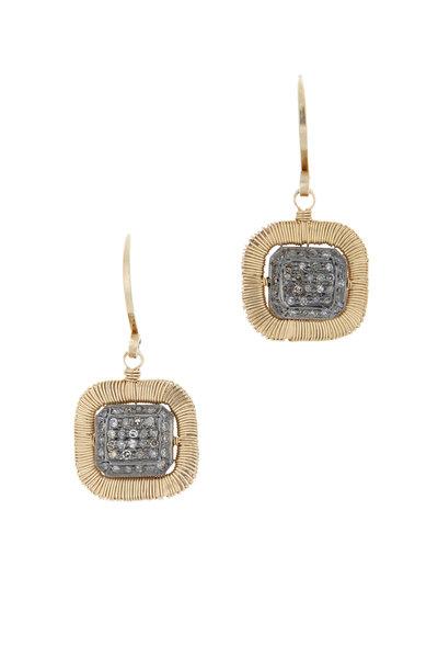 Dana Kellin - Yellow Gold Diamond Square Drop Earrings