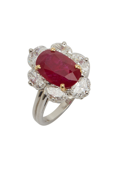 Oscar Heyman - Platinum Mozambique Ruby Diamond Ring