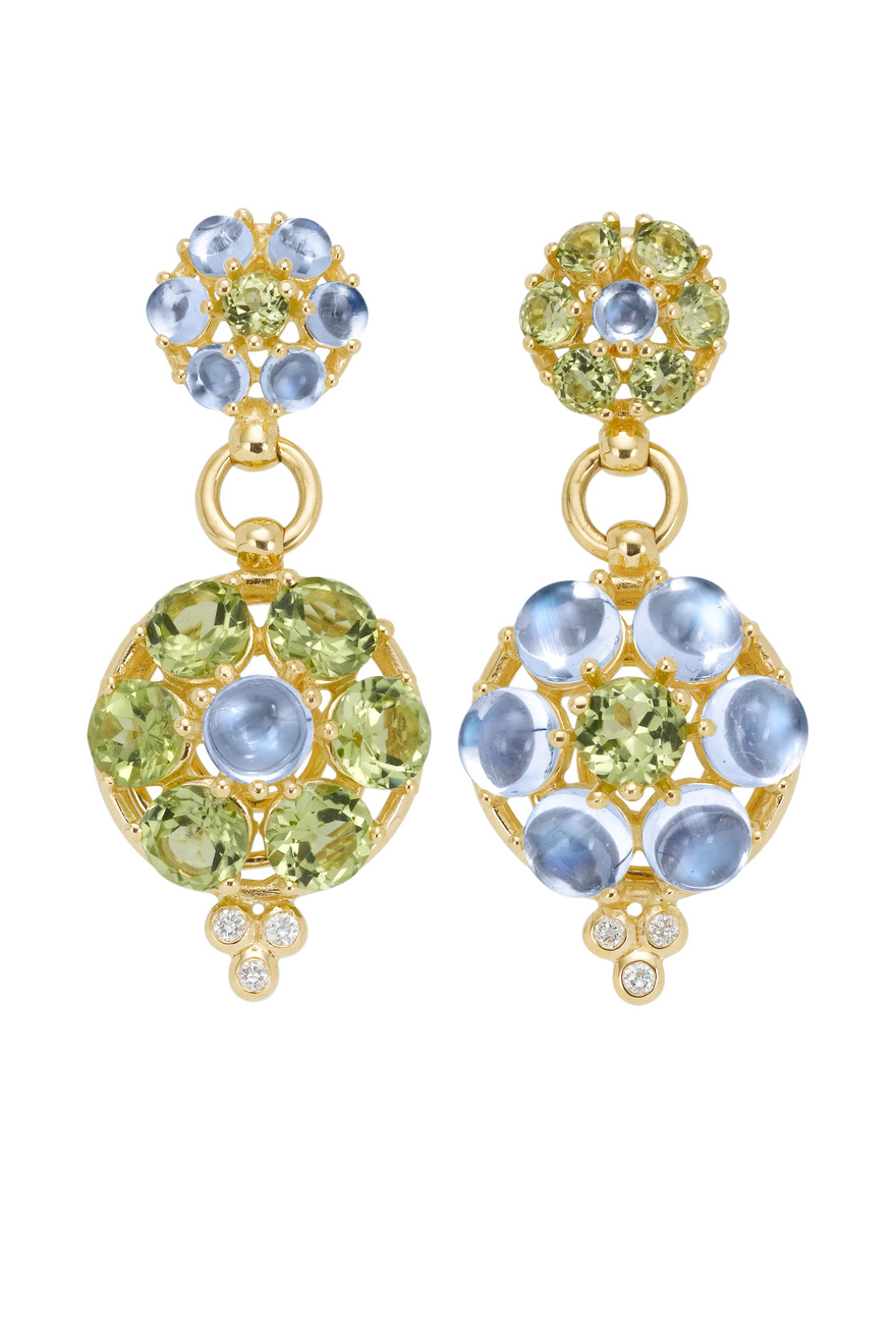 Blue Moonstone Peridot Diamond Earrings