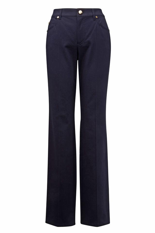 Dark Navy Blue Gabardine Jeans