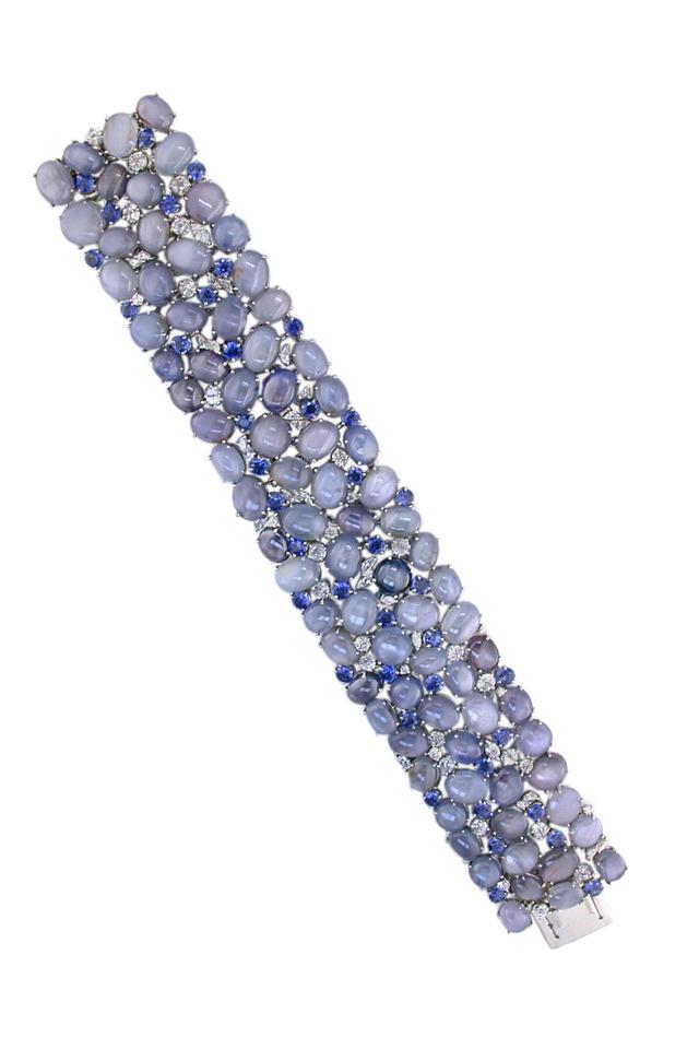 Wide Platinum Star Sapphire Bracelet