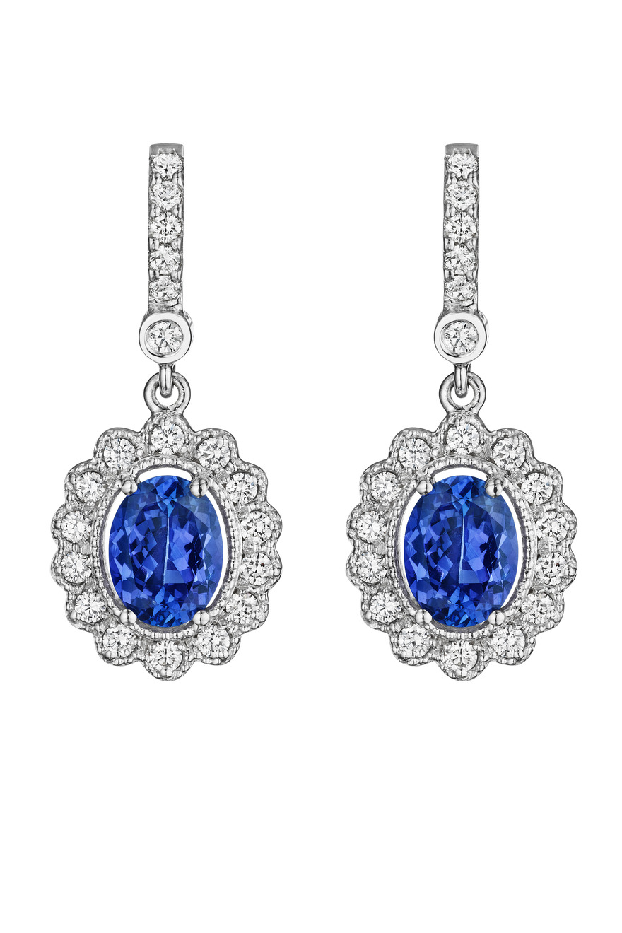 White Gold Diamond Oval Tanzanite Earrings