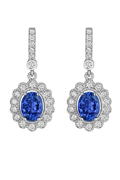 Penny Preville -  White Gold Diamond Oval Tanzanite Earrings