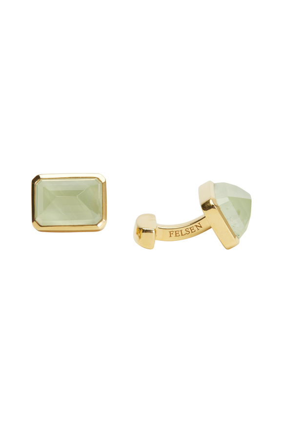 Suzanne Felsen Yellow Gold Prehnite Cuff Links