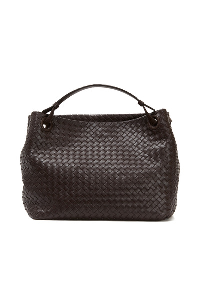 Bottega Veneta - Black Intrecciato Leather Medium Shoulder Bag