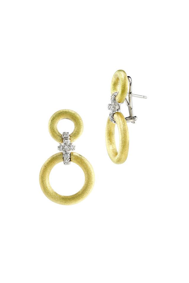 Medium Gold Diamond Hanging Circles Earrings