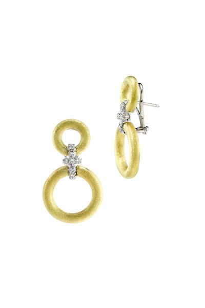 Aaron Henry - Medium Gold Diamond Hanging Circles Earrings