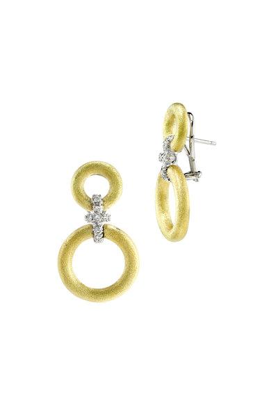 Aaron Henry - Medium Gold Diamond Hanging Circles Earrings