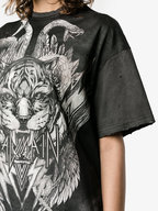 Balmain - Gray Distressed Printed Tunic T-Shirt