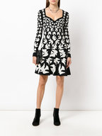 Alexander McQueen - Black & White Dove Jacquard Long Sleeve Dress
